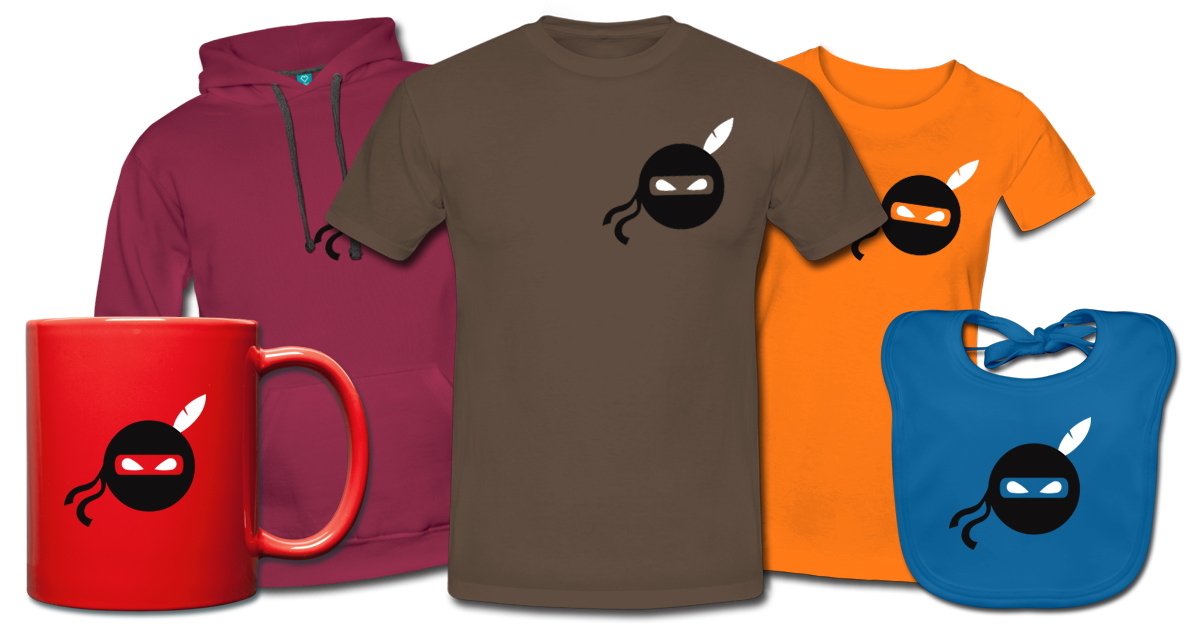 Fun Shirt, Design, Wortspiel, Humor, Ninja, Indianer, Crossover, Feder, cartoon